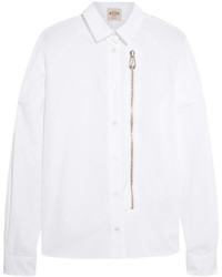 Tod's Zip Detailed Cotton Poplin Shirt