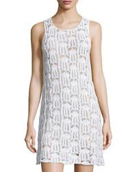 MinkPink Crocheted Sleeveless Dress White
