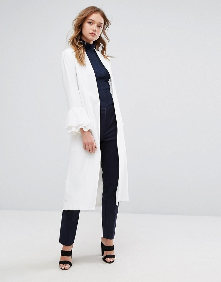 Helene Berman Longline Duster With Frill Sleeve