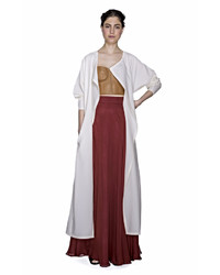 Sandra Weil Wayaka White Wool Duster Coat