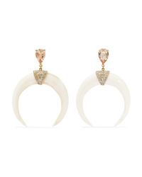 Jacquie Aiche 14 Karat Gold Bone Morganite And Diamond Earrings