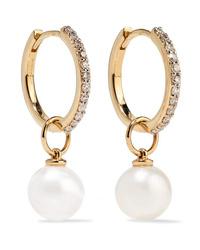 Mateo 14 Karat Gold Diamond And Pearl Hoop Earrings