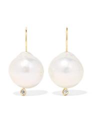 Mizuki 14 Karat Gold Pearl And Diamond Earrings