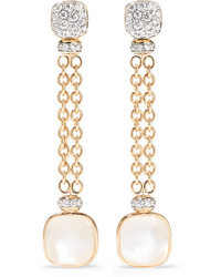 Pomellato 18 Karat Rose And White Gold Multi Stone Earrings