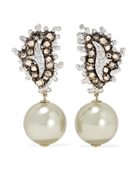 Bina Goenka 18 Karat White And Yellow Gold Pearl And Diamond Earrings