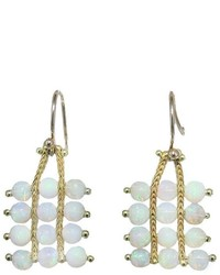 Ten Thousand Things Beaded Opal Square Earrings