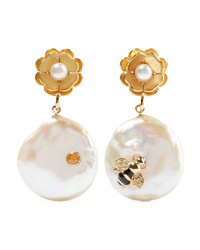 Of Rare Origin Bee Gold Vermeil Pearl And Sapphire Earrings