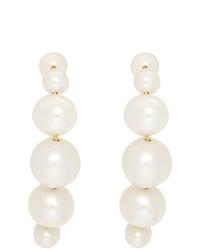 Saskia Diez Gold Drop Pearl Hugging Earrings
