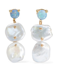 Wwake Gold Pearl And Opal Earrings