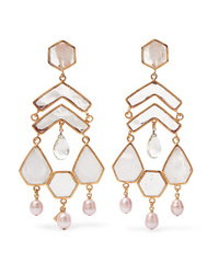 Loulou de la Falaise Gold Plated Multi Stone Clip Earrings
