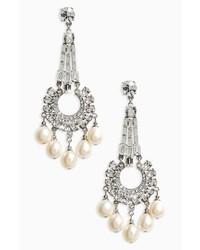 Ben-Amun Imitation Pearl Crystal Drop Earrings