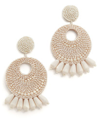 Kenneth Jay Lane Ivory Seed Bead Hoop Earrings