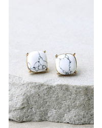 LuLu*s Marvel To Behold Gold And White Earrings