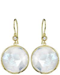 Irene Neuwirth Round Rose Cut Rainbow Moonstone Earrings Yellow Gold