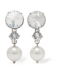 Miu Miu Silver Tone Crystal And Faux Pearl Clip Earrings