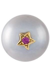 Superstellar pearl and sapphire stud earring medium 690534
