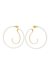 Panconesi White Upside Down Hoop Earrings