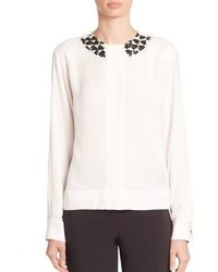 Piazza Sempione Embellished Long Sleeve Blouse