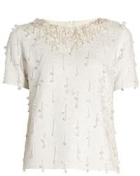 Ashish Sequin Embellished Short Sleeved Cotton Top