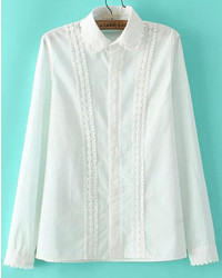 Lapel Lace Embellished Blouse