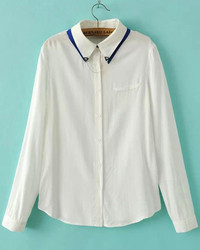 White Lapel Long Sleeve Tie Clip Embellished Blouse