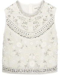 Needle & Thread Bridal Cropped Embellished Chiffon Top Ivory