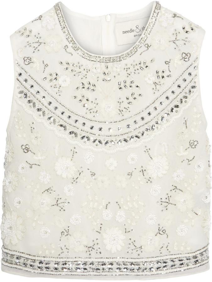 ff3d5eb87f338 ... White Embellished Chiffon Cropped Tops Needle   Thread Bridal Cropped  Embellished Chiffon Top Ivory ...