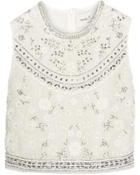 Needle & Thread Bridal Cropped Embellished Chiffon Top Ivory