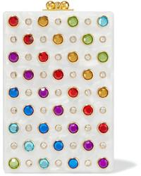 Carol swarovski crystal embellished acrylic box clutch white medium 1152494
