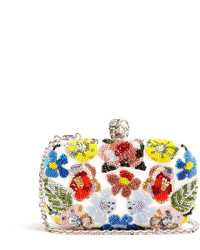 Floral embellished leather box clutch medium 1252071