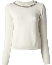 White Embellished Crew-neck Sweater