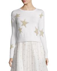 Alice + Olivia Erran Metallic Star Pullover Sweater White