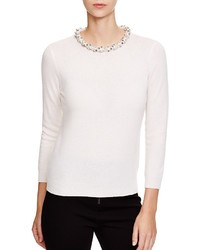 C By Bloomingdales Jeweled Neck Cashmere Sweater