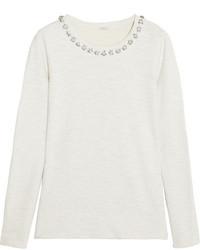 J.Crew Crystal Embellished Cotton Terry Sweatshirt