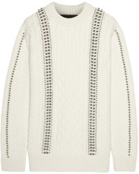 Alexander Wang Embellished Cable Knit Wool Sweater