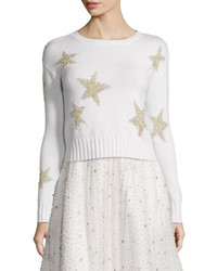 Alice + Olivia Erran Metallic Star Pullover Sweater White