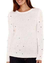 Liz Claiborne Long Sleeve Sequin Shaker Sweater
