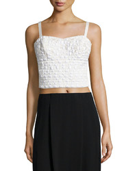 Phoebe Couture Embellished Cropped Tank Top White