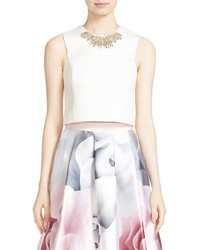 Ted Baker London Jaby Embellished Sleeveless Crop Top