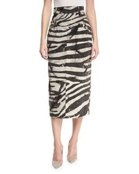 Marc Jacobs Embellished Zebra Print Pencil Skirt White