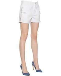 White Embellished Denim Shorts