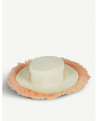 Federica Moretti Boa Feather Trimmed Straw Boater Hat