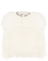 Miu Miu Cropped Crystal Embellished Feather Jacket White