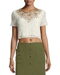 Haute Hippie Embellished Lace Crop Top Ivory