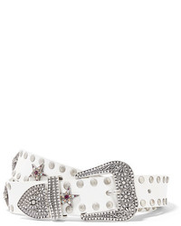 Marc Jacobs Embellished Leather Belt White