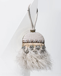 a720cb9f977e ... Tory Burch Embellished Feather Dome Clutch Bag Porcelain White ...
