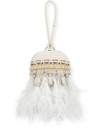Embellished feather dome clutch bag porcelain white medium 650253
