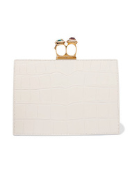 Alexander McQueen Knuckle Embellished Croc Effect Leather Clutch
