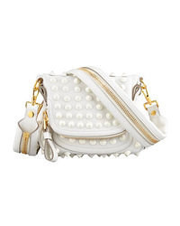 White Embellished Leather Crossbody Bag