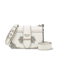 Prada Cahier Embellished Leather Shoulder Bag